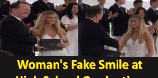 Woman Fake Smile at High School Graduation